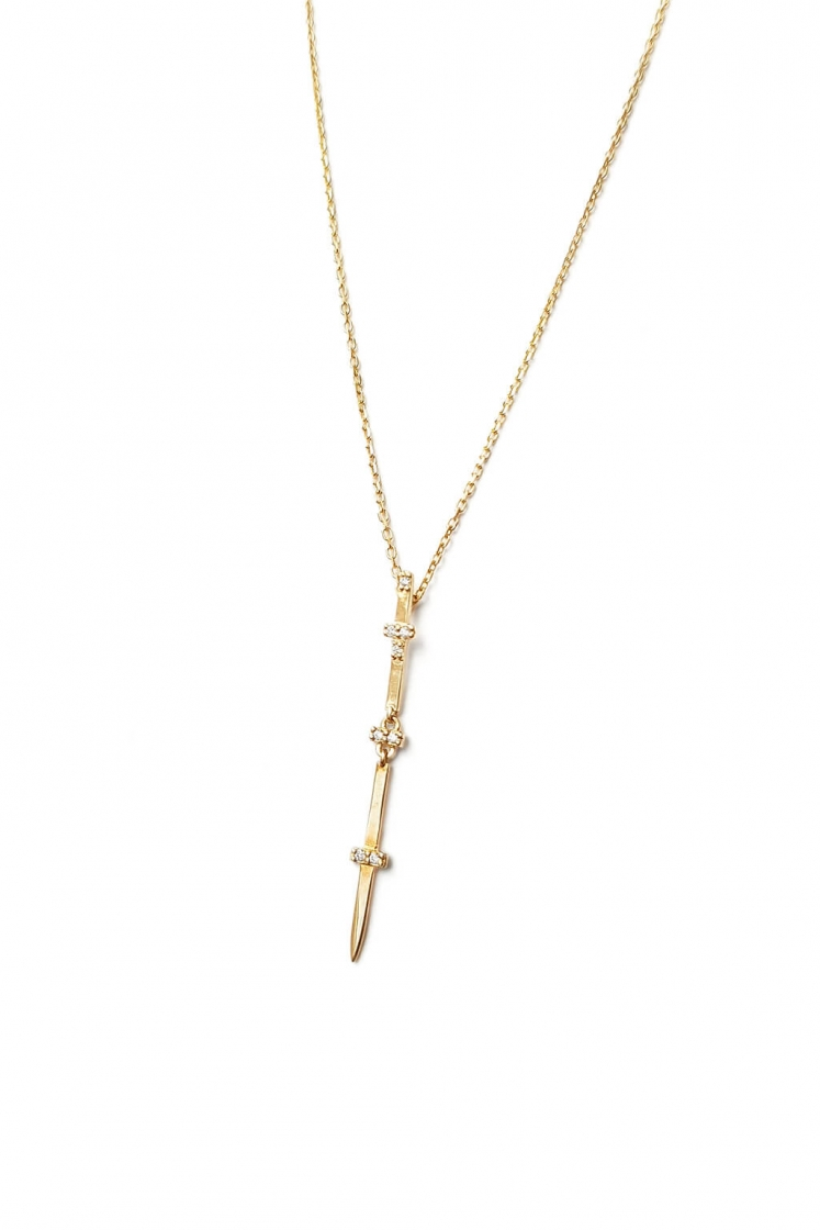 Long Sword gold necklace