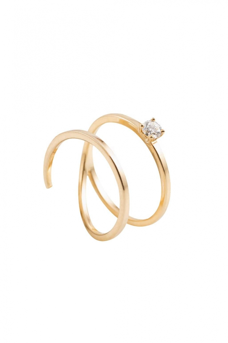 Big double spring gold ring