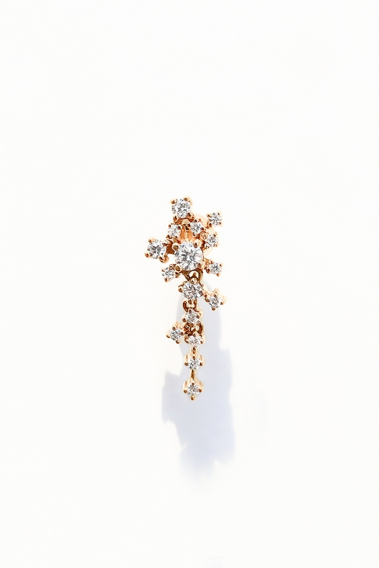 Small Cascade diamonds gold earring