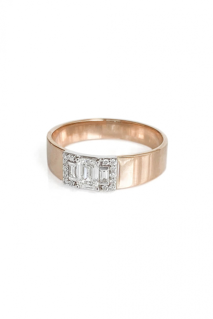 Second Wife Band Emerald gold ring