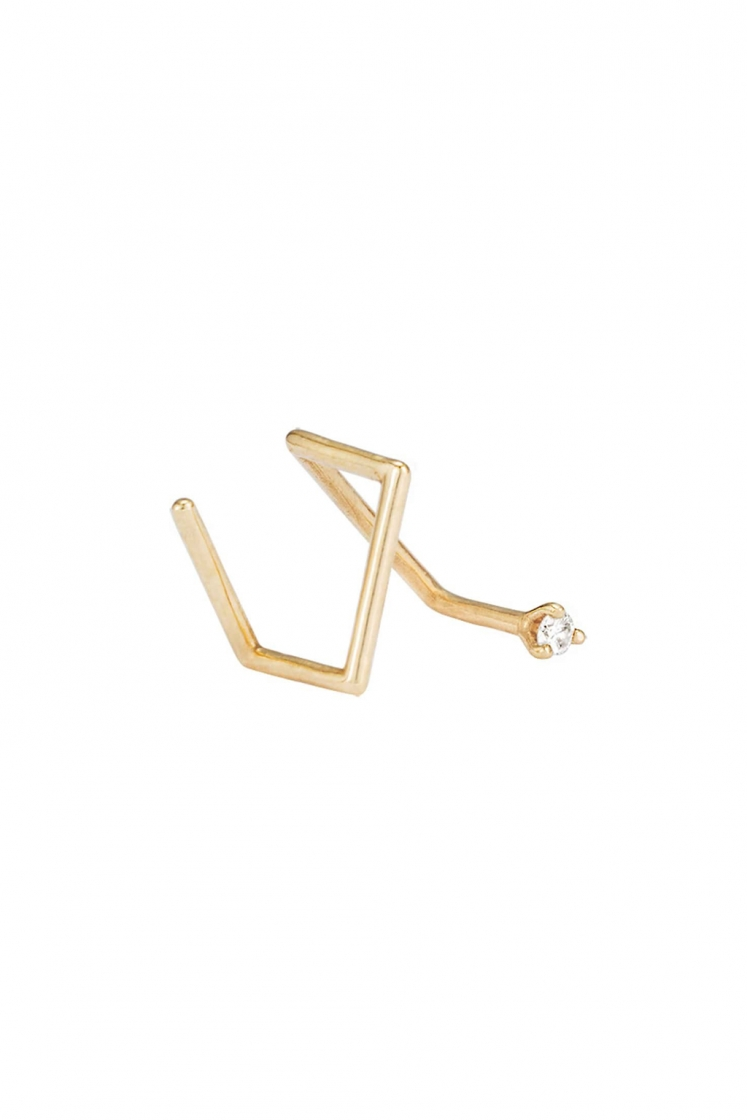 1'7 mm diamond Z gold earring